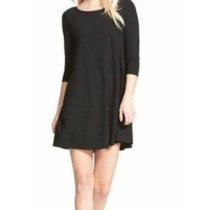 LEITH Black Crepe Trapeze Shift Dress with Sleeves